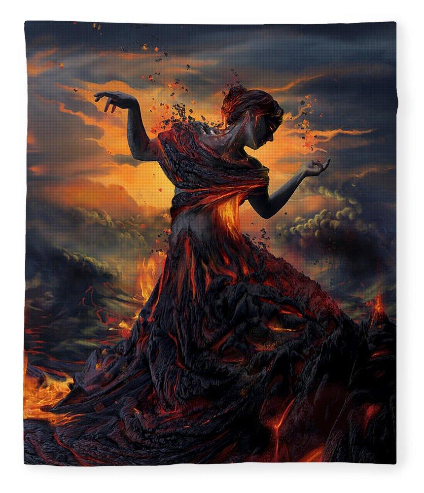 Fire Fleece Blanket featuring the digital art Elements - Fire by Cassiopeia Art