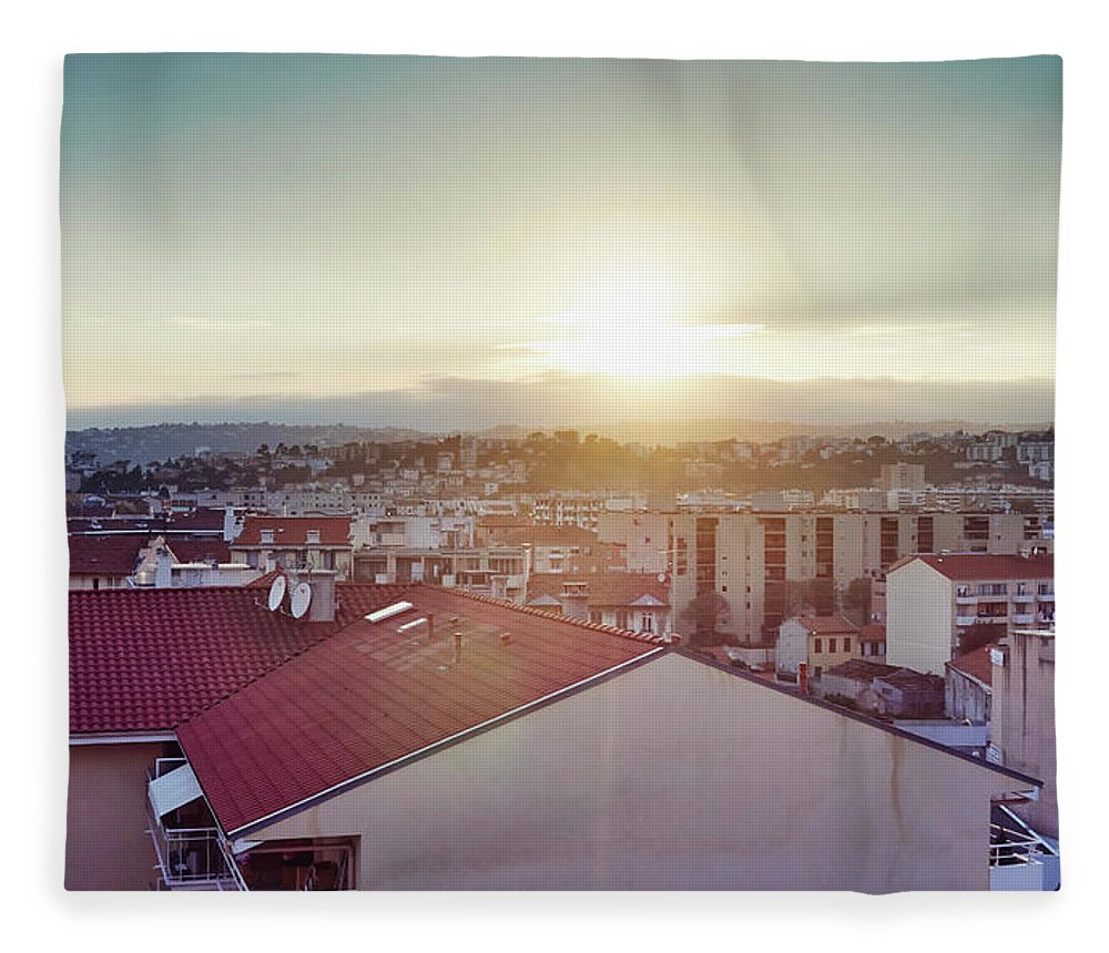 French Riviera Fleece Blanket featuring the photograph Elevated View Of City, Nice, France by Gu