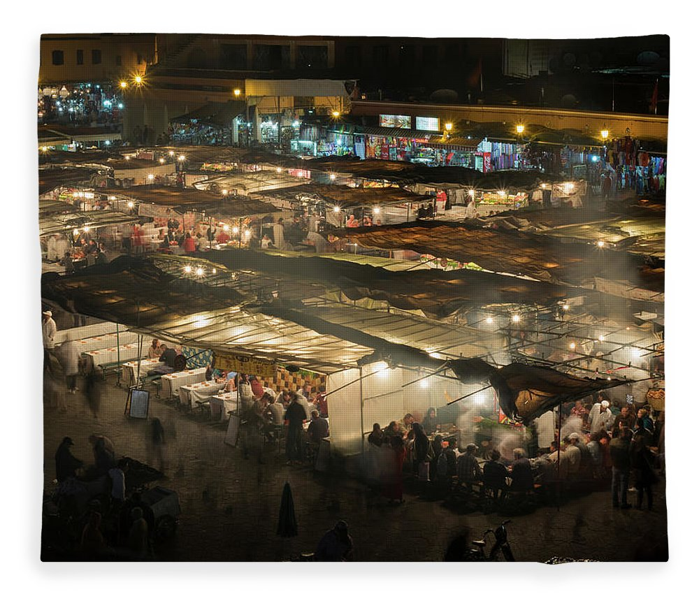 Photography Fleece Blanket featuring the photograph Elevated View Of The Jemaa El-fna by Panoramic Images