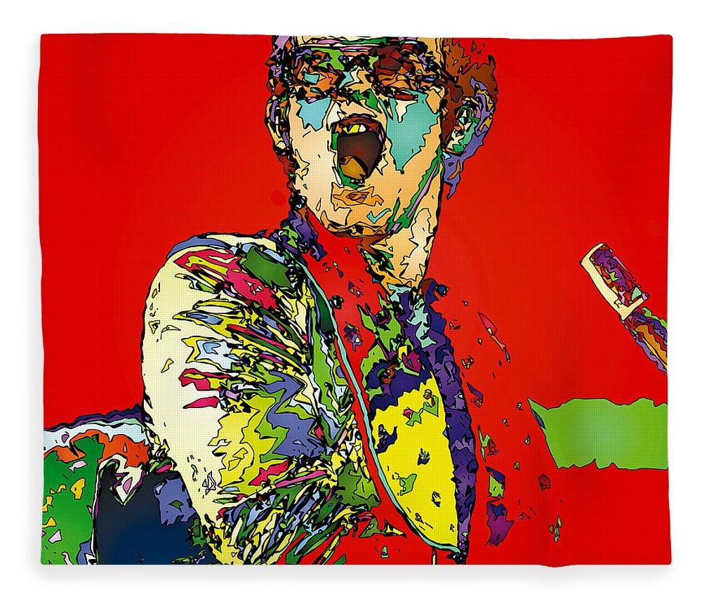 Elton John Fleece Blanket featuring the painting Elton in Red by John Farr