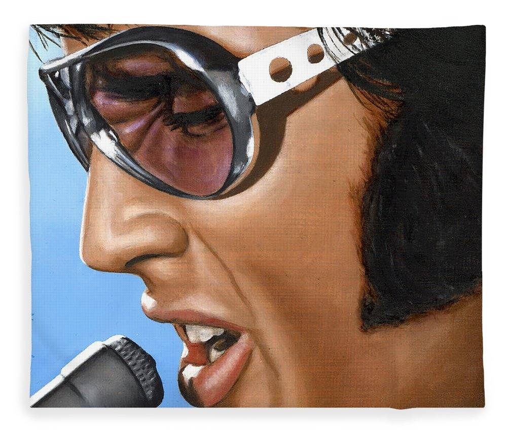 Elvis Fleece Blanket featuring the painting Elvis 24 1970 by Rob De Vries