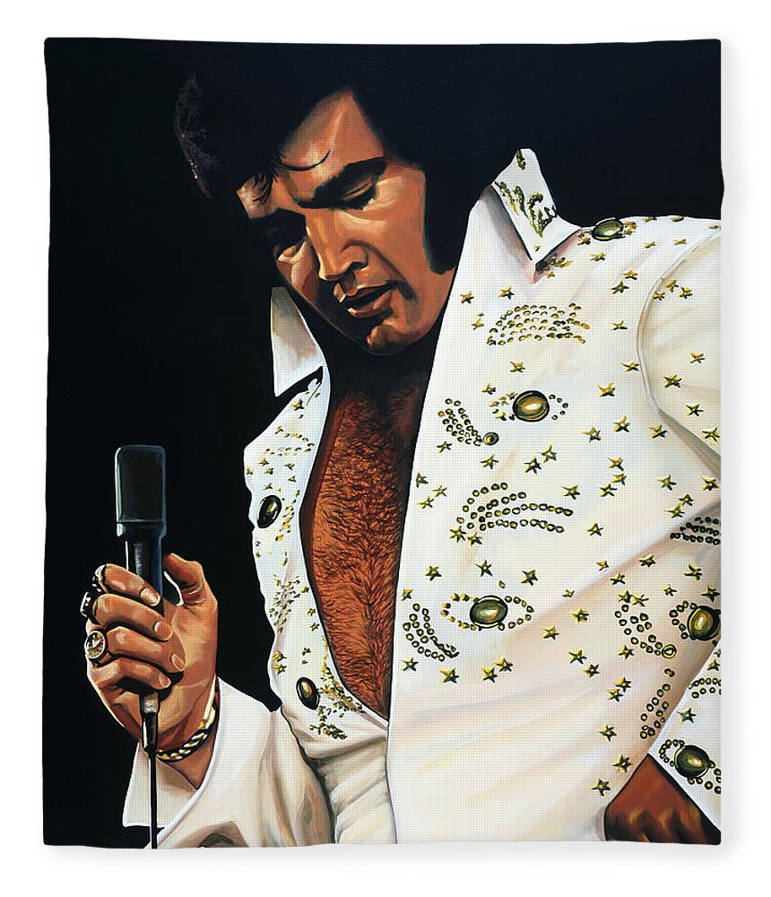 Elvis Fleece Blanket featuring the painting Elvis Presley Painting by Paul Meijering