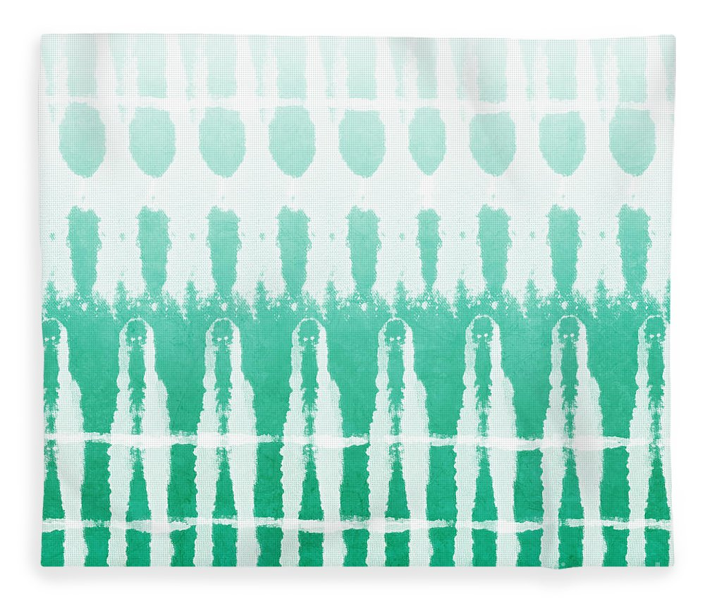 Abstract Fleece Blanket featuring the painting Emerald Ombre by Linda Woods