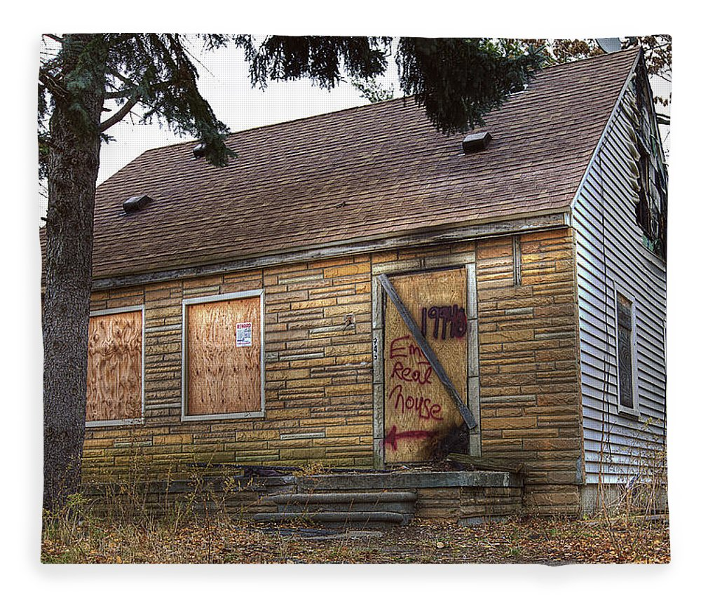Eminem's Childhood Home The Court Warren Valley Golf Course Batman Superman Gotham Detroit Electric Detroit Nba Hoop Auburn Hills Mi Maximum Destruction At Ford Field Detroit Mi Grave Digger At Ford Field Detroit Mi Fox Parking Garage Detroit Mi Old Gas Station Miller Bottles Detroit Mi Jesse James Motorcycle Detroit Mi Hockeytown Cafe Art Detroit Mi Detroit Pistons Hallway Aubur Hills Mi Henry Ford Museum Display Dearborn Mi Graffitti Underpass Detroit Mi Ford Plane Dea Fleece Blanket featuring the digital art Eminem's Childhood Home taken on November 11 2013 by Nicholas Grunas