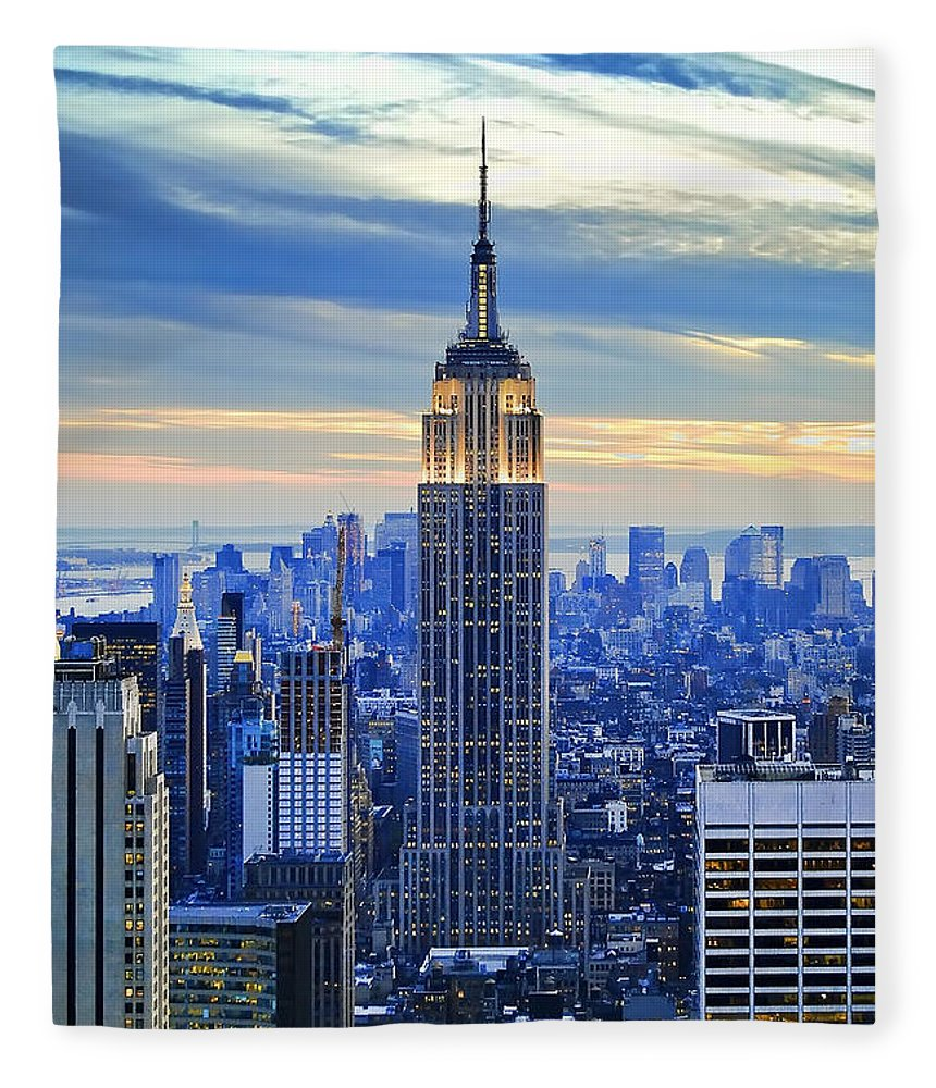 New York City Fleece Blanket featuring the photograph Empire State Building New York City Usa by Sabine Jacobs