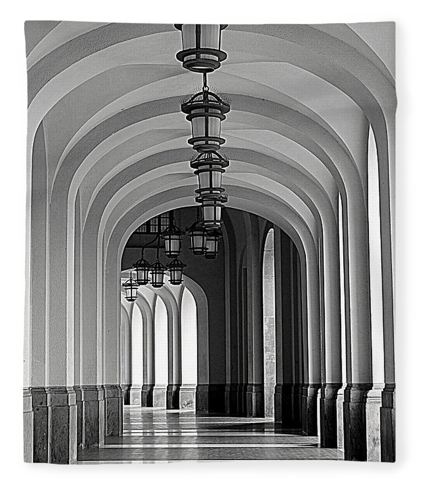 Arch Fleece Blanket featuring the photograph Empty Road by Getty Contibu