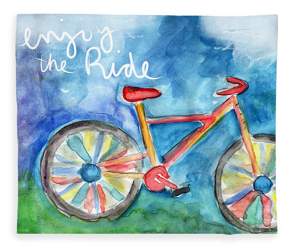 Bike Fleece Blanket featuring the painting Enjoy The Ride- Colorful Bike Painting by Linda Woods