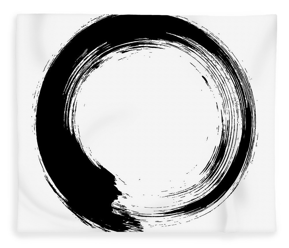 East Fleece Blanket featuring the digital art Enso – Circular Brush Stroke Japanese by Thoth adan