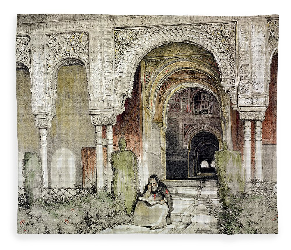 Twin Column Fleece Blanket featuring the drawing Entrance To The Hall Of The Two Sisters by John Frederick Lewis