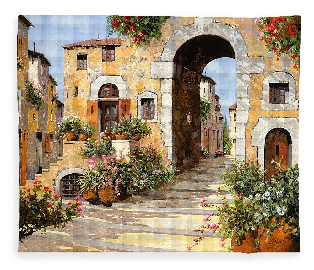Cityscape Fleece Blanket featuring the painting Entrata Al Borgo by Guido Borelli