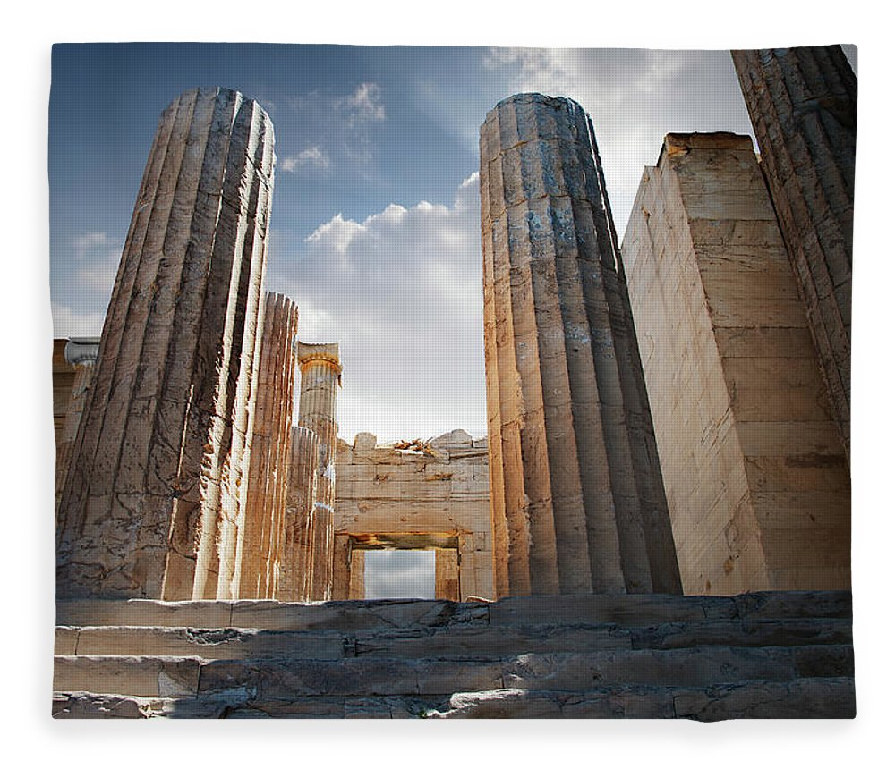 Tranquility Fleece Blanket featuring the photograph Entryway Into The Acropolis by Ed Freeman