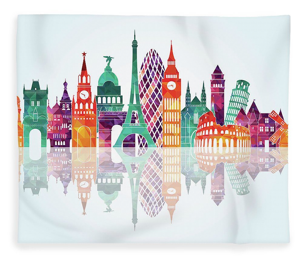 People Fleece Blanket featuring the digital art Europe Skyline Detailed Silhouette by Katerina andronchik