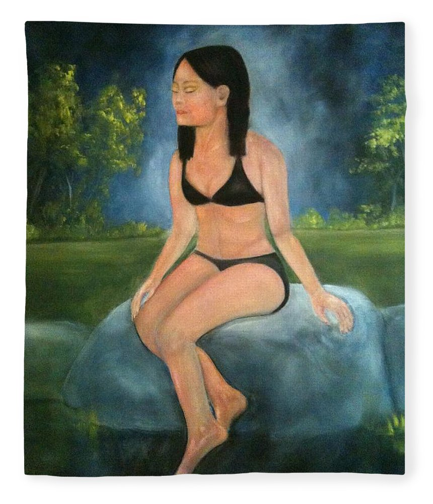 Woman Fleece Blanket featuring the painting Evening Swim by Sheila Mashaw