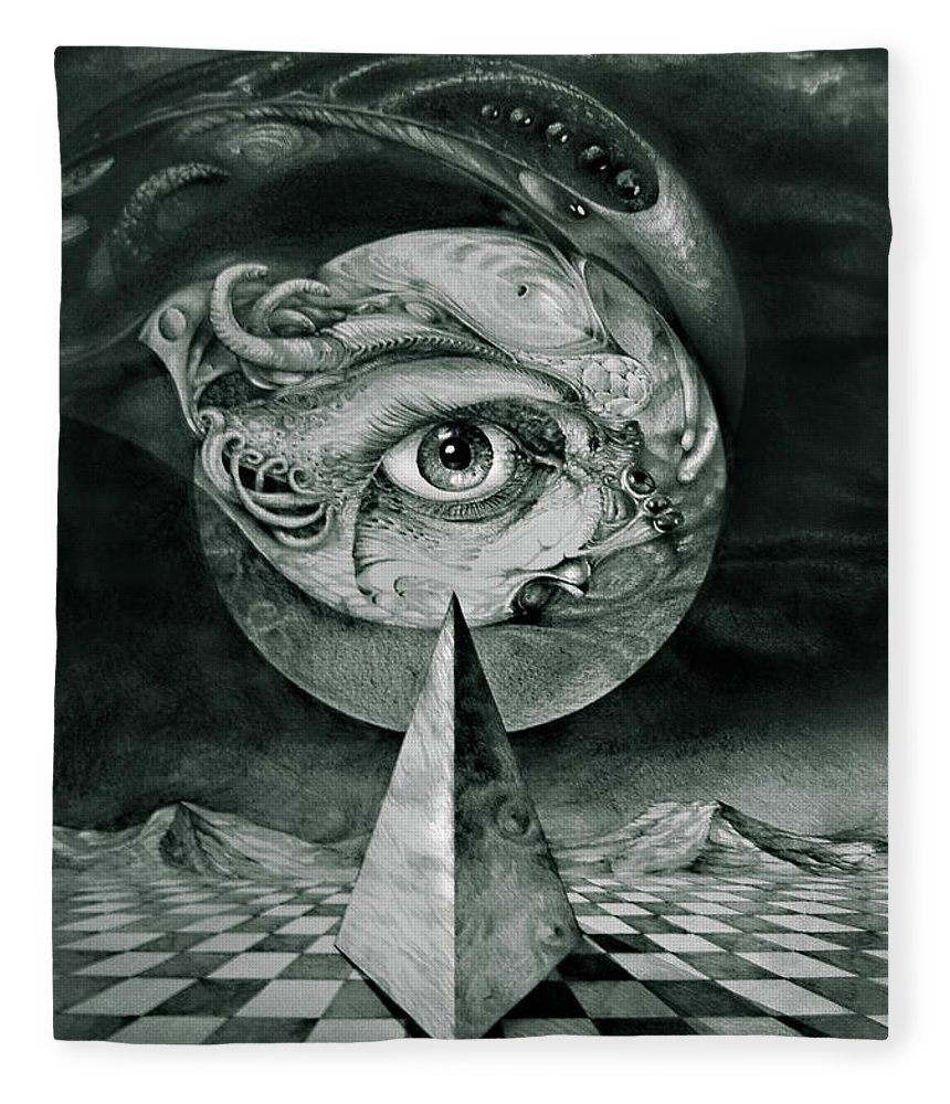 otto Rapp Surrealism Fleece Blanket featuring the drawing Eye Of The Dark Star by Otto Rapp