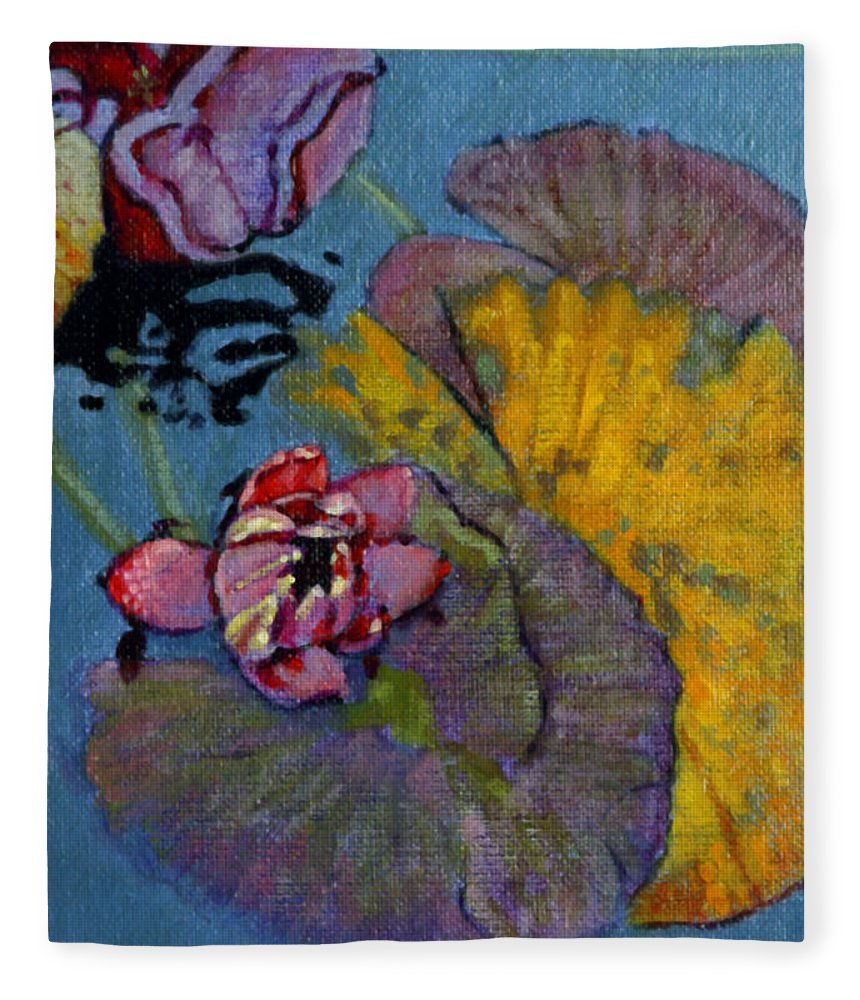 Water Lily Fleece Blanket featuring the painting Fall Lily by John Lautermilch