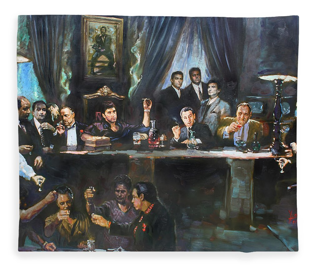 Gangsters Fleece Blanket featuring the painting Fallen Last Supper Bad Guys by Ylli Haruni