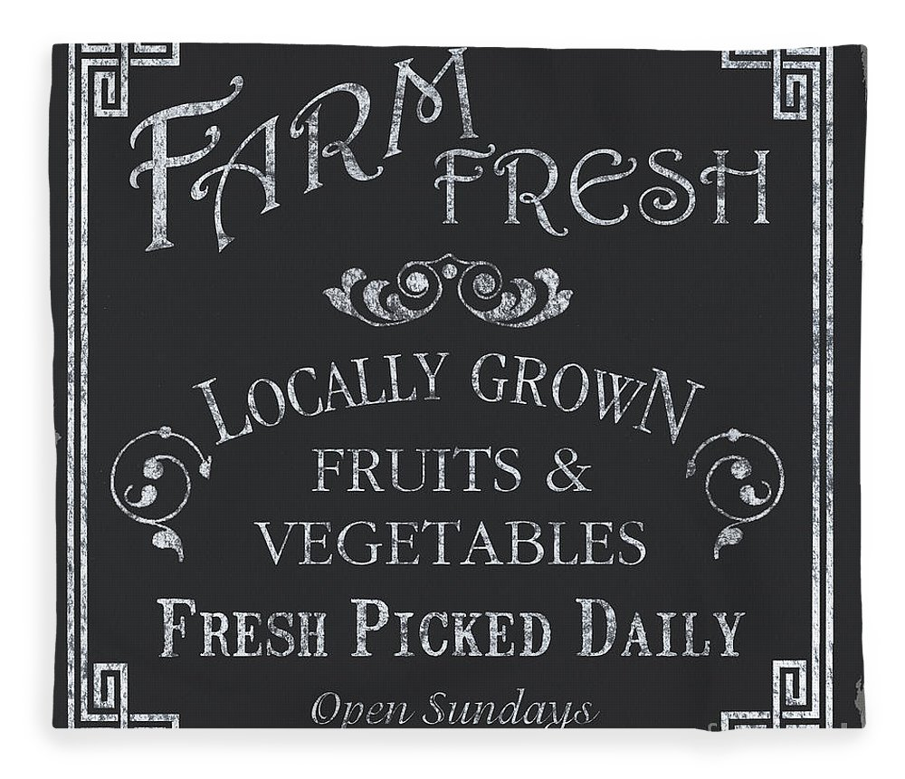 Farmer Fleece Blanket featuring the painting Farm Fresh Sign by Debbie DeWitt