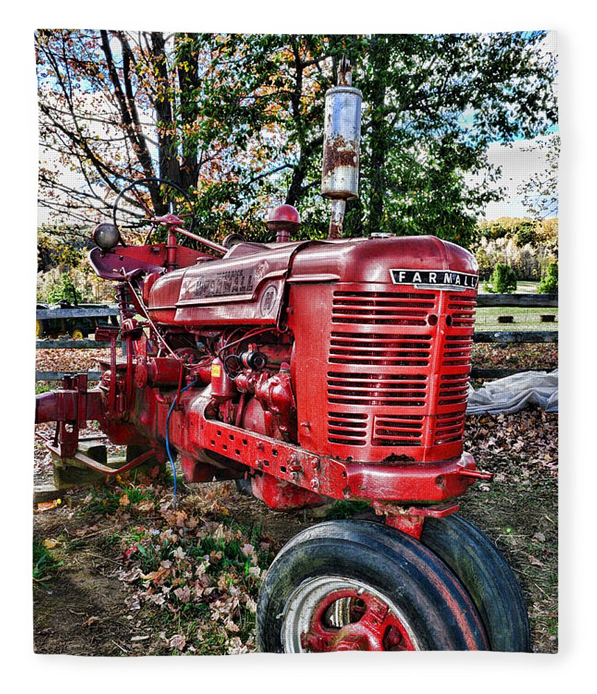 Paul Ward Fleece Blanket featuring the photograph Farmers Tractor by Paul Ward