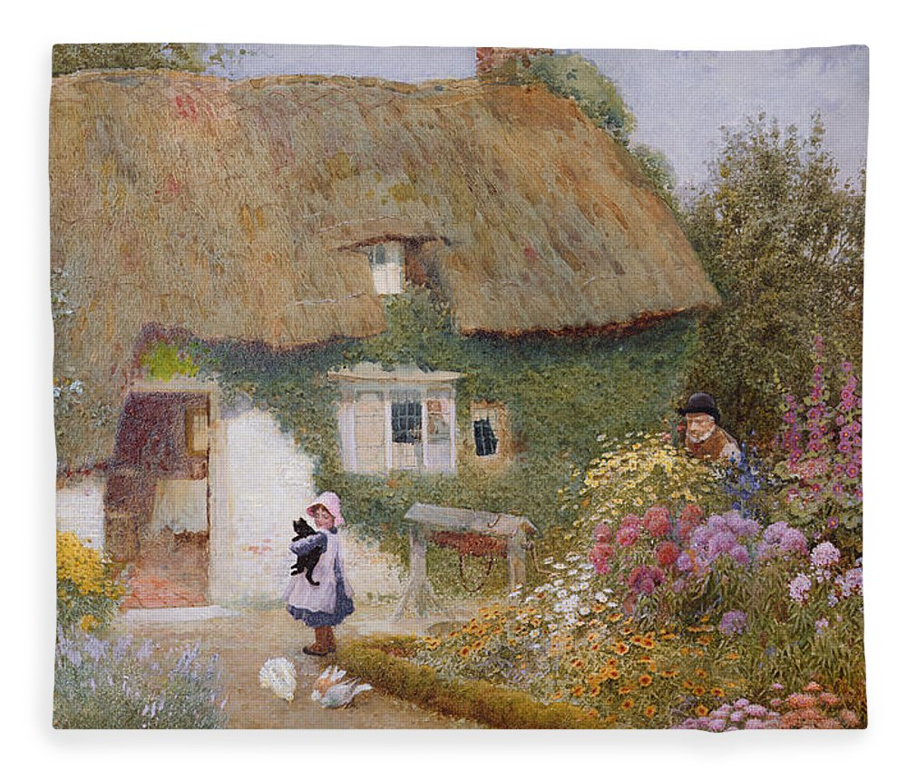 Thatch Fleece Blanket featuring the painting Feeding The Pigeons by Arthur Claude Strachan