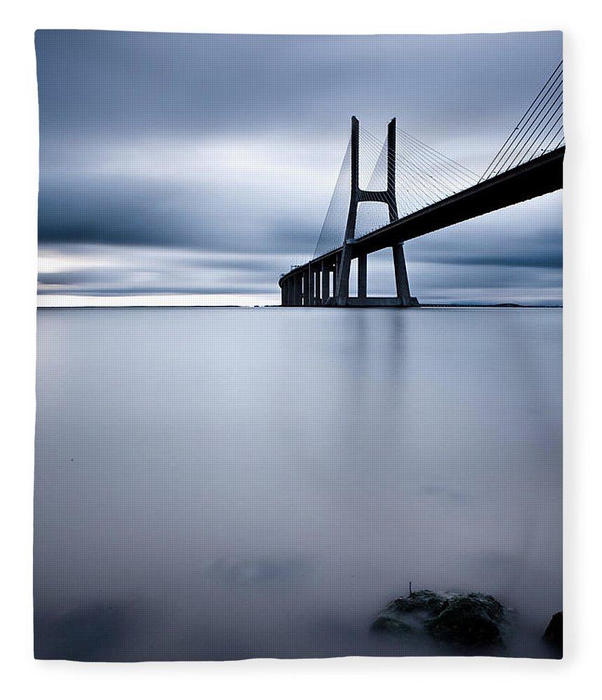 Lisbon Fleece Blanket featuring the photograph Feeling Blue by Jorge Maia