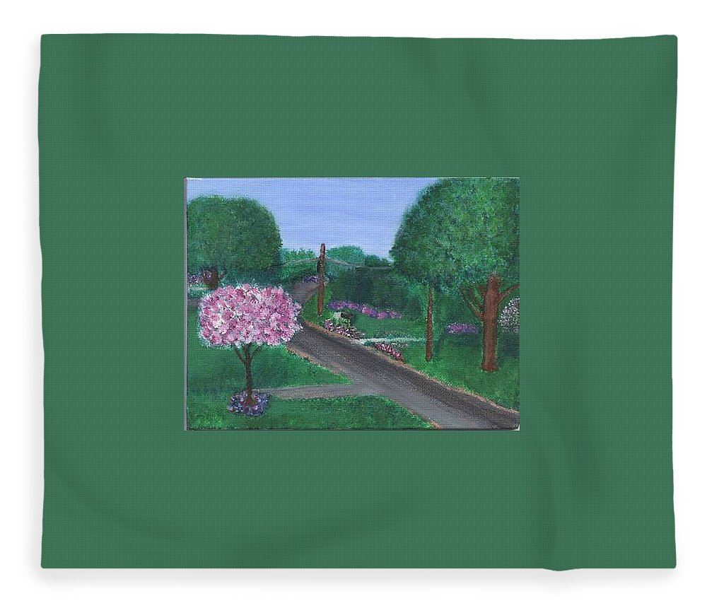 Plein Aire Fleece Blanket featuring the painting Fellowship by Sheila Mashaw