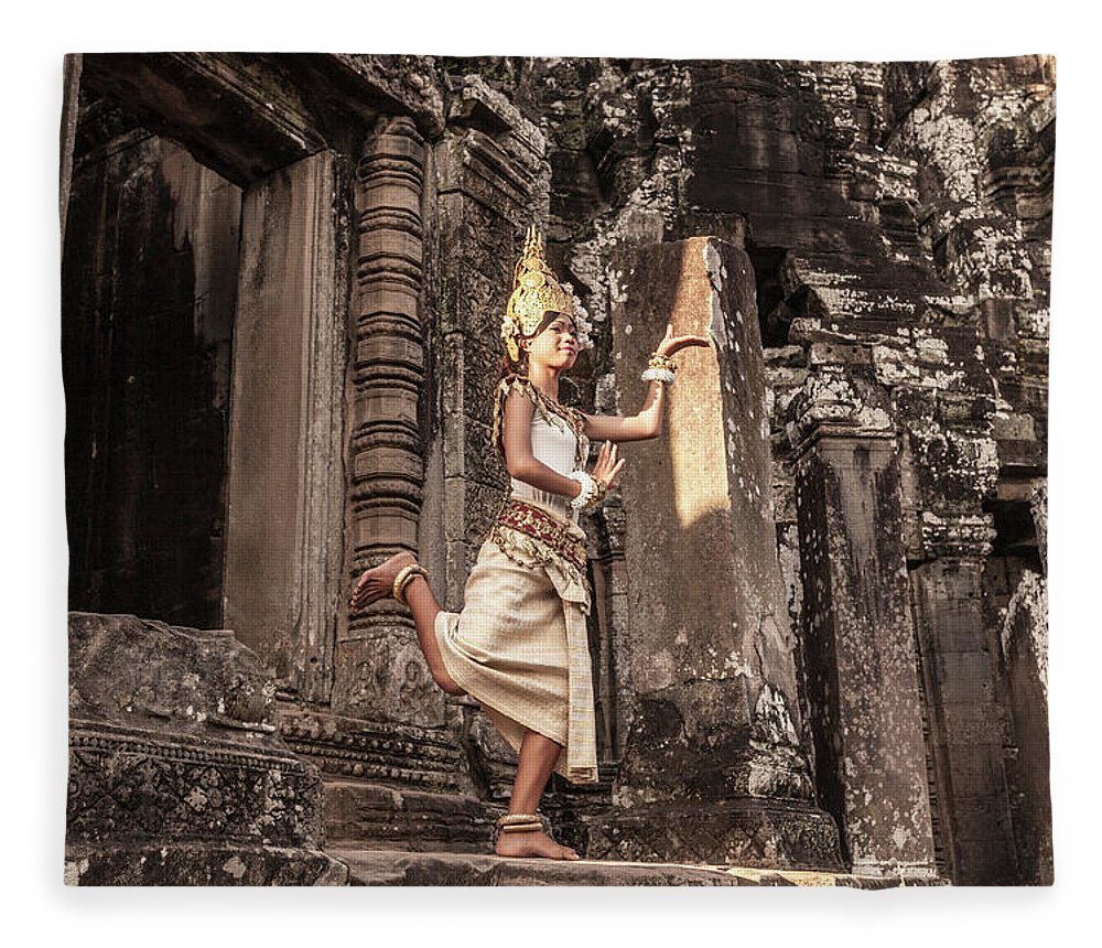 Hinduism Fleece Blanket featuring the photograph Female Apsara Dancer, Standing On One by Cultura Exclusive/gary Latham