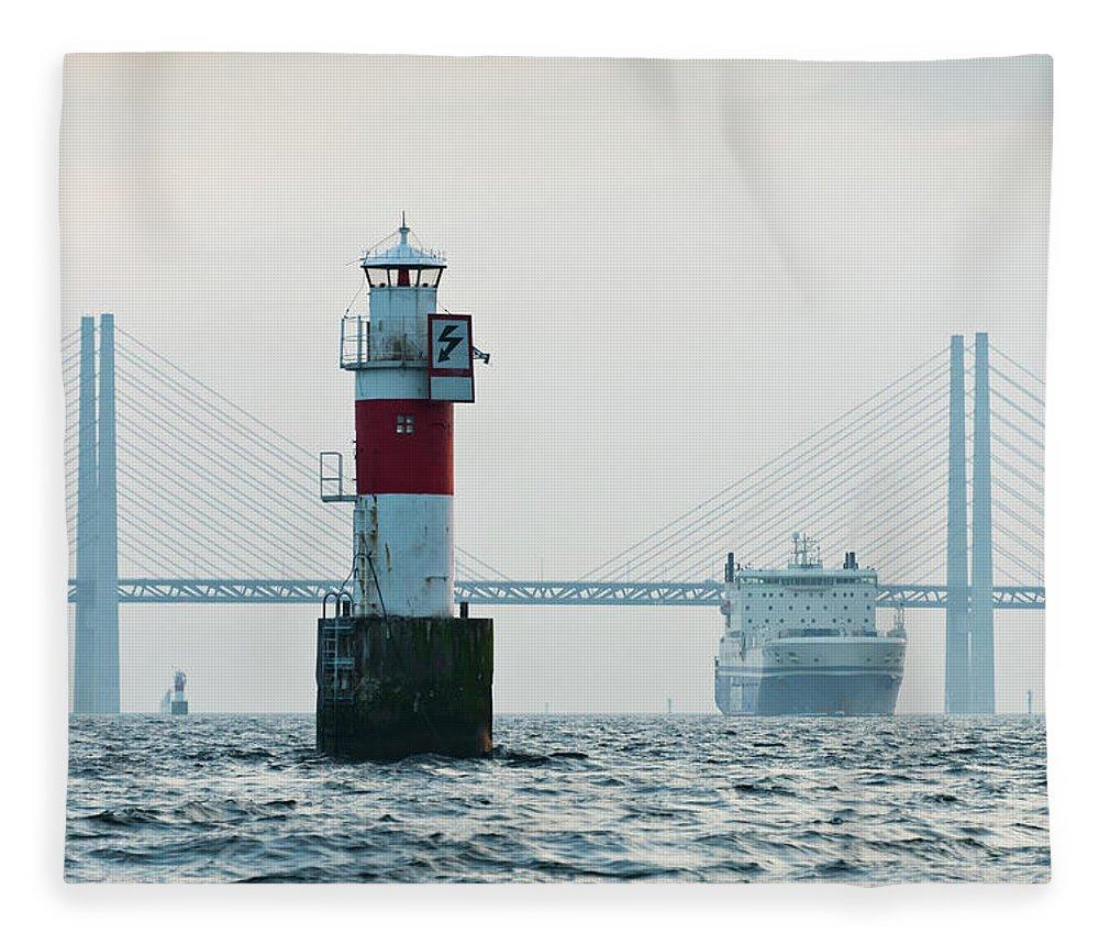 Copenhagen Fleece Blanket featuring the photograph Ferry On Sea, Oresund Bridge In by Johner Images