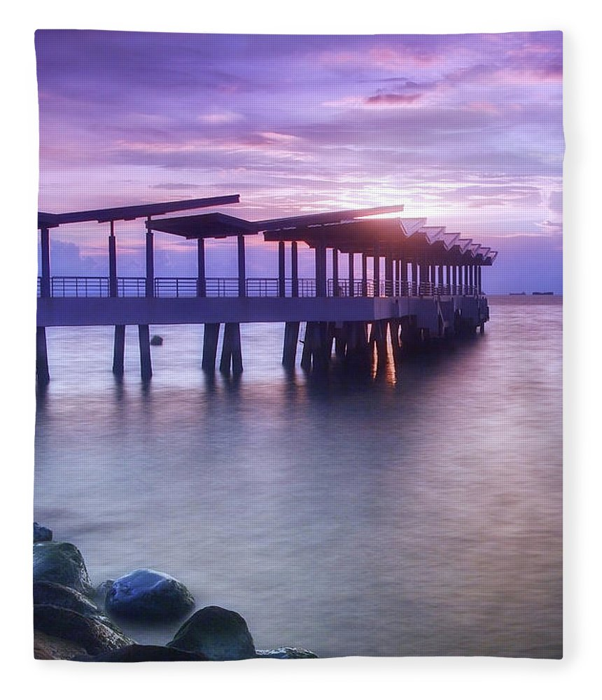 Scenics Fleece Blanket featuring the photograph Ferry Station by Melv Pulayan