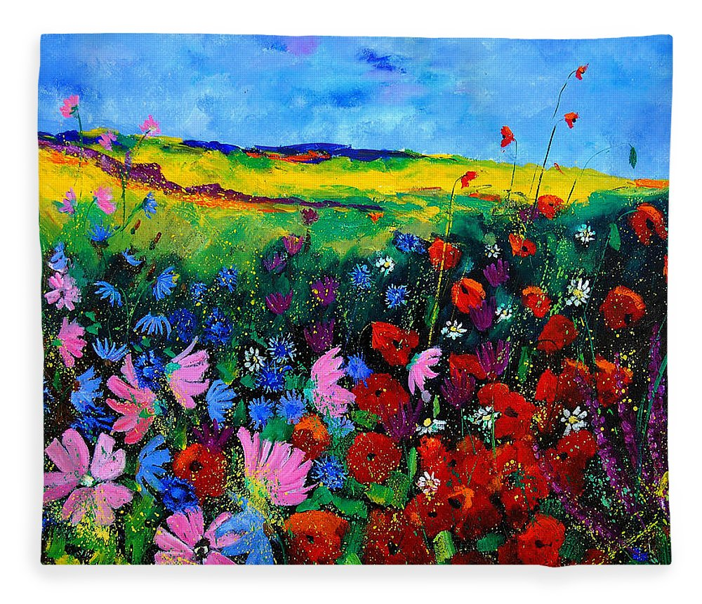 Poppies Fleece Blanket featuring the painting Field flowers by Pol Ledent