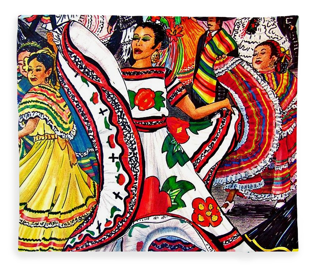 Spanish Dance Fleece Blanket featuring the drawing Fiesta Parade by Marilyn Smith