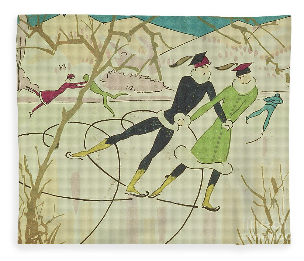 Winter Fleece Blanket featuring the drawing Figure Skating Christmas Card by American School