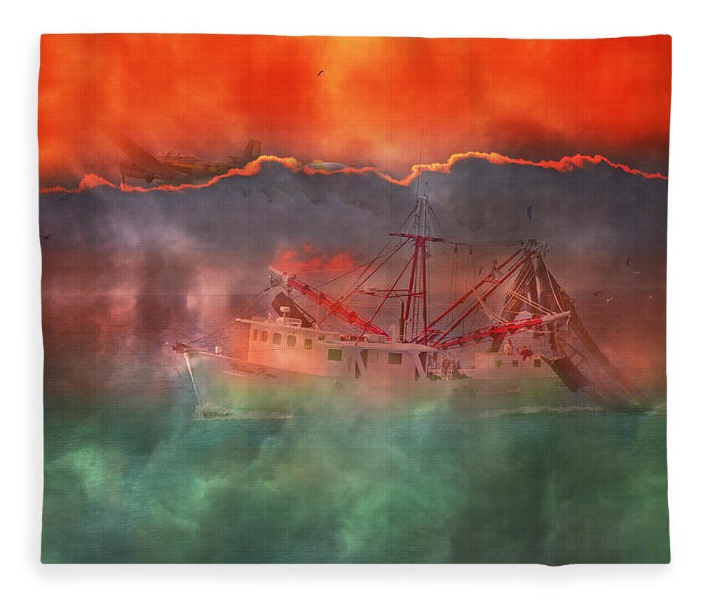 Boat Fleece Blanket featuring the photograph Fire And Ice Misty Morning by Betsy Knapp