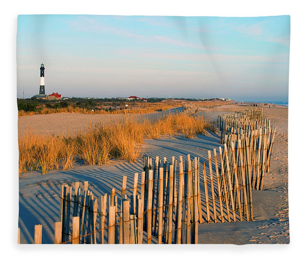 Shadow Fleece Blanket featuring the photograph Fire Island Lighthouse, Long Island, Ny by Rudi Von Briel