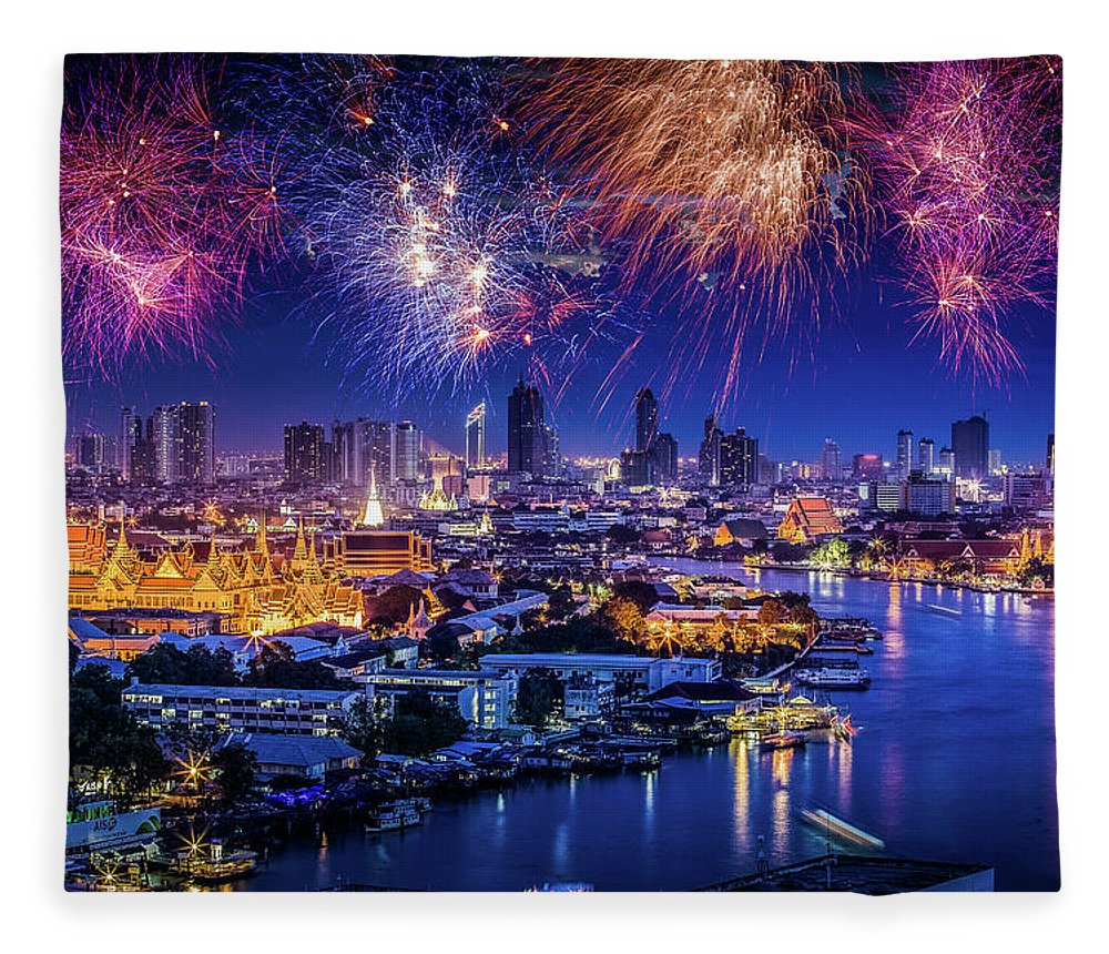 Mother's Day Fleece Blanket featuring the photograph Fireworks Above Bangkok City by Natapong Supalertsophon