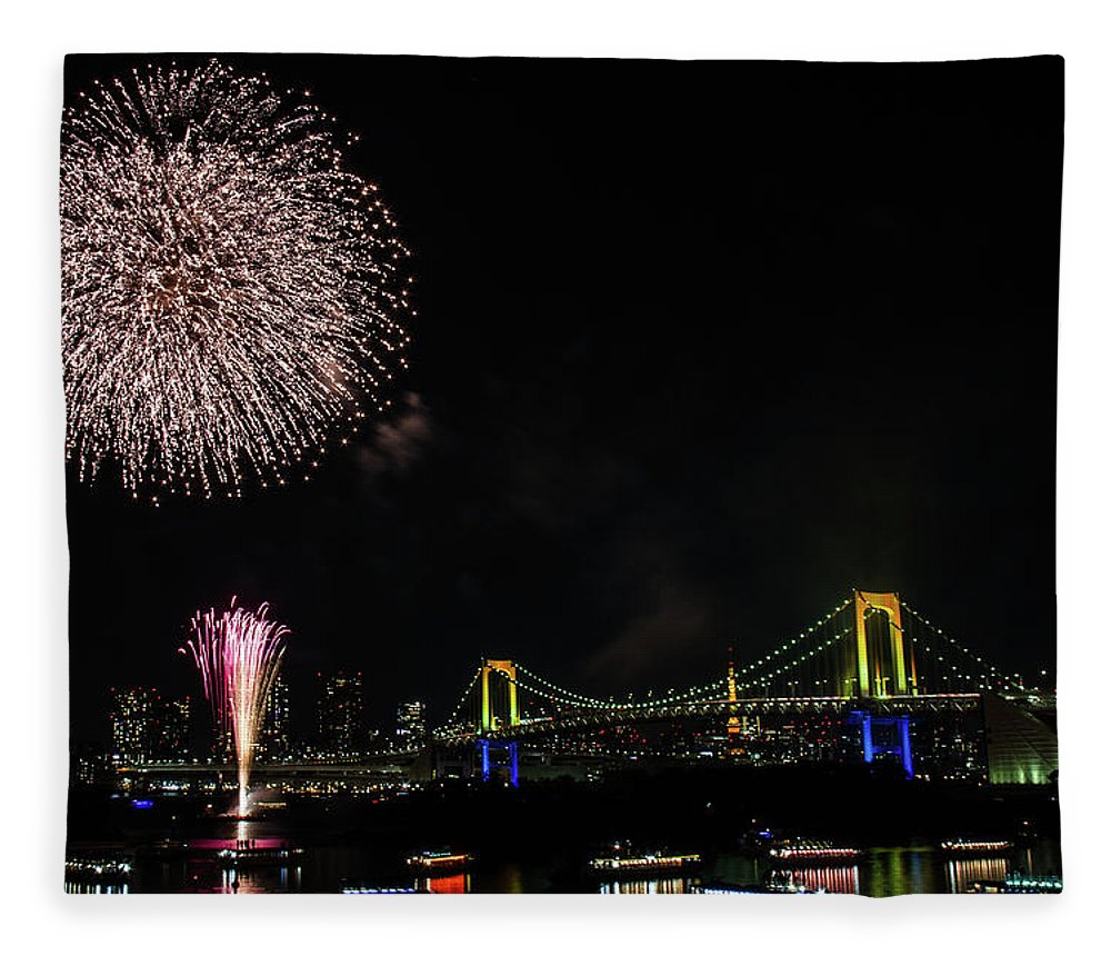 Firework Display Fleece Blanket featuring the photograph Fireworks At Rainbow Bridge by ©alan Nee