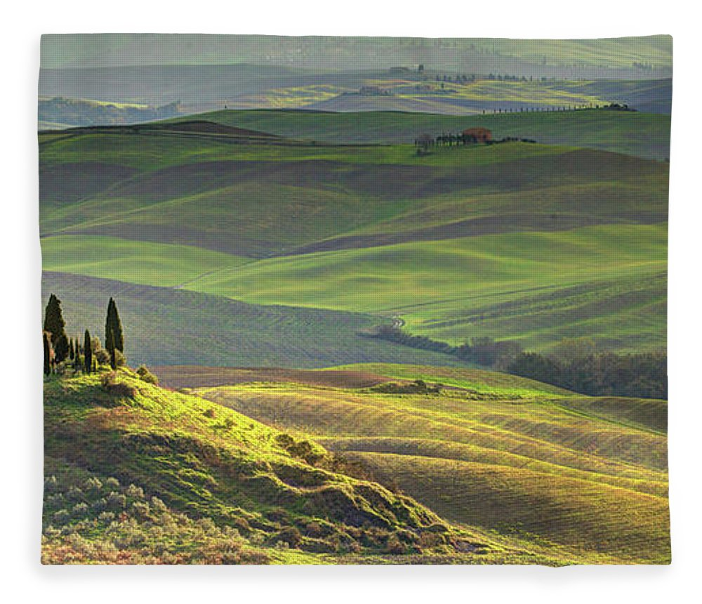 Scenics Fleece Blanket featuring the photograph First Light In Tuscany by Maurice Ford