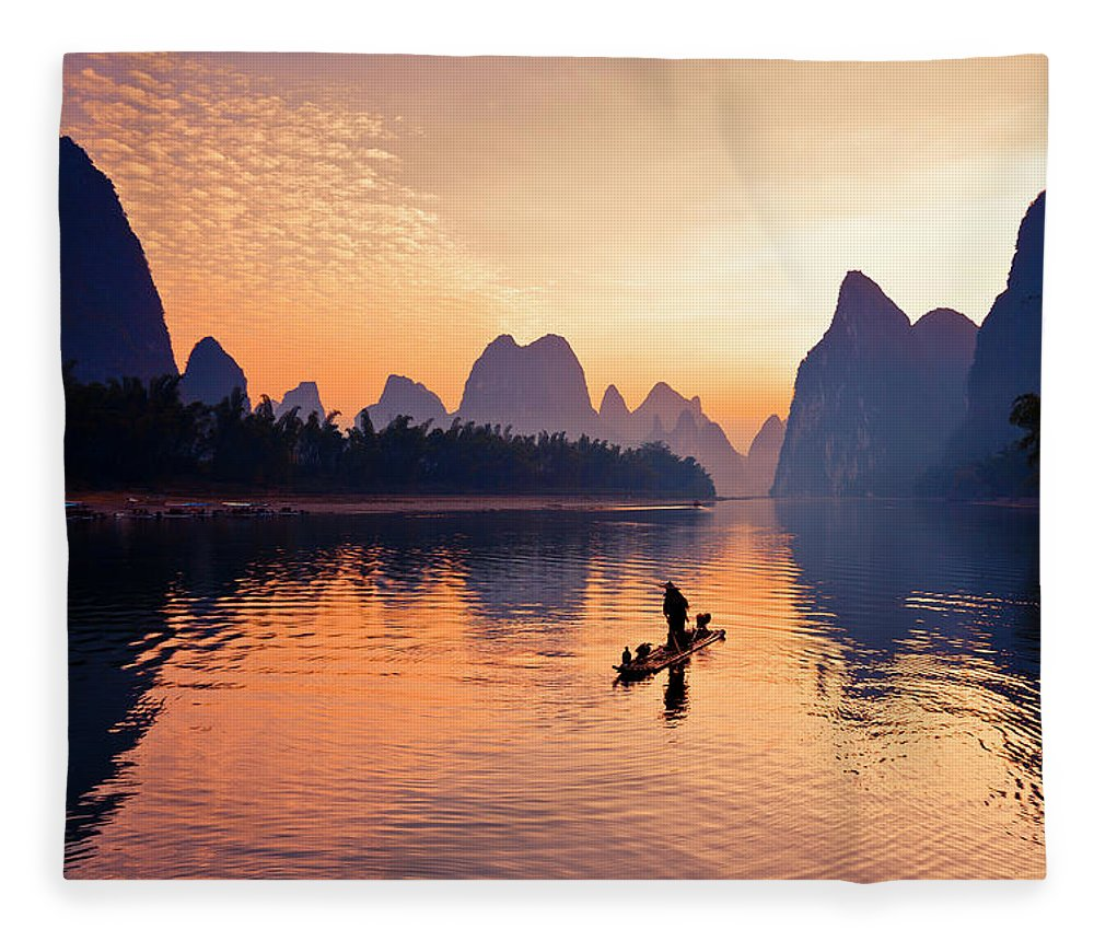 Chinese Culture Fleece Blanket featuring the photograph Fishermen Fishing In Li River by Bihaibo