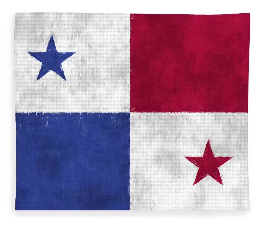 Central America Fleece Blanket featuring the digital art Flag Of Panama by World Art Prints And Designs