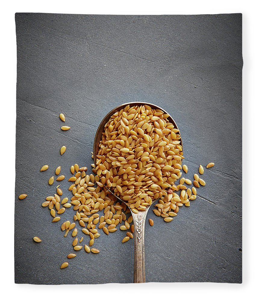 Spoon Fleece Blanket featuring the photograph Flax Seed by Lew Robertson