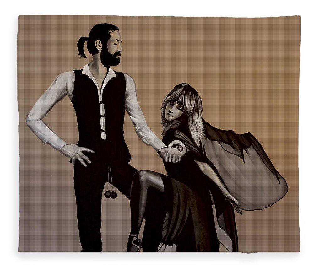 Fleetwood Mac Fleece Blanket featuring the painting Fleetwood Mac Rumours by Paul Meijering