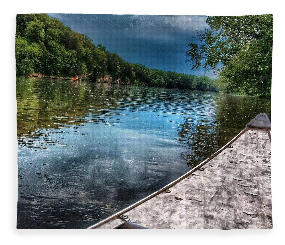 River Fleece Blanket featuring the photograph Floating Down the Fox River by Nick Heap
