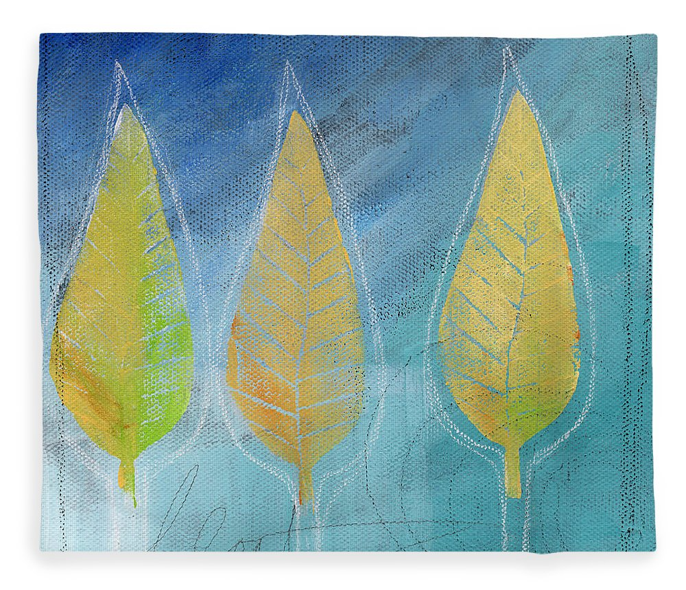 Abstract Fleece Blanket featuring the painting Floating by Linda Woods