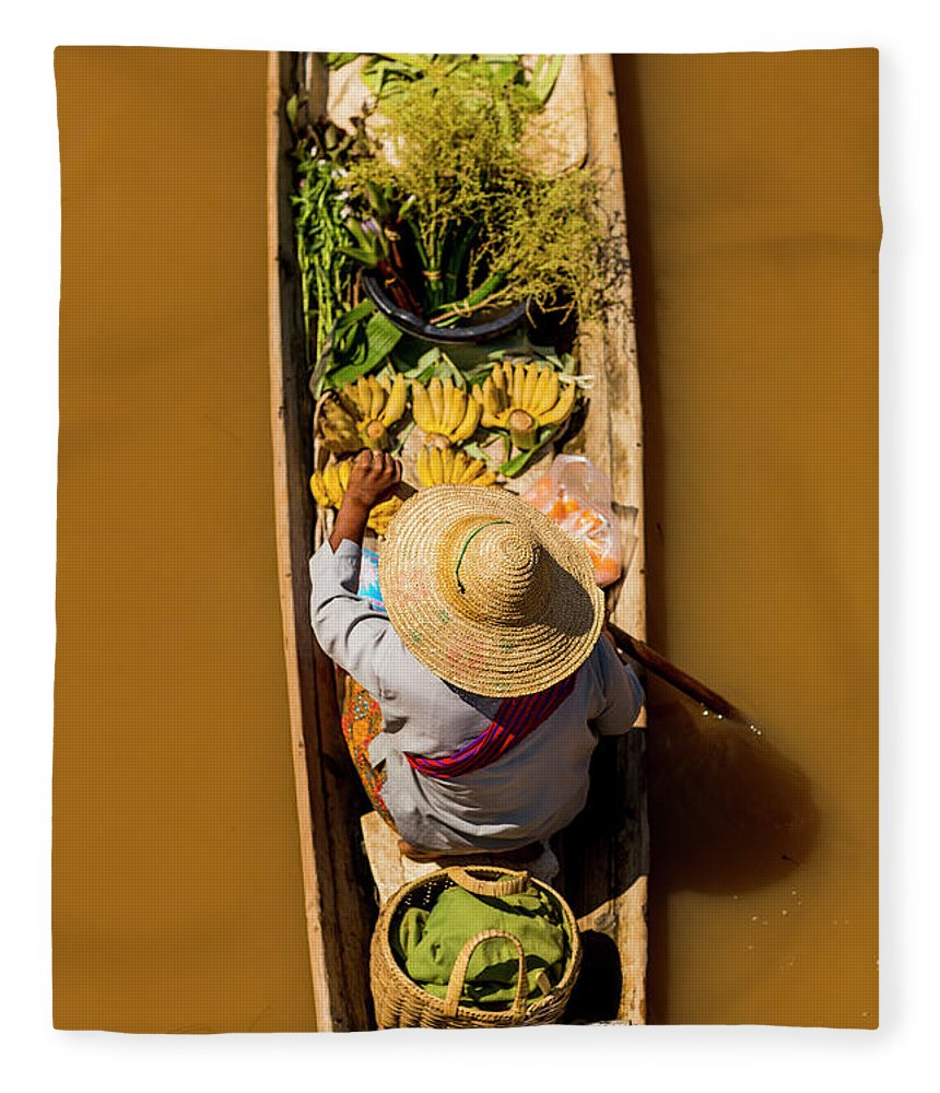 Straw Hat Fleece Blanket featuring the photograph Floating Market Canoe With Fruit by Merten Snijders