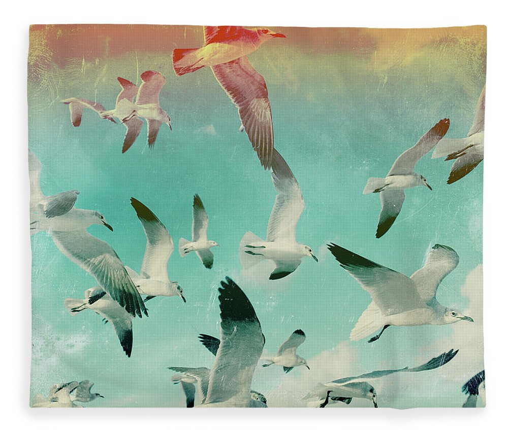Animal Themes Fleece Blanket featuring the photograph Flock Of Seagulls, Miami Beach by Michael Sugrue