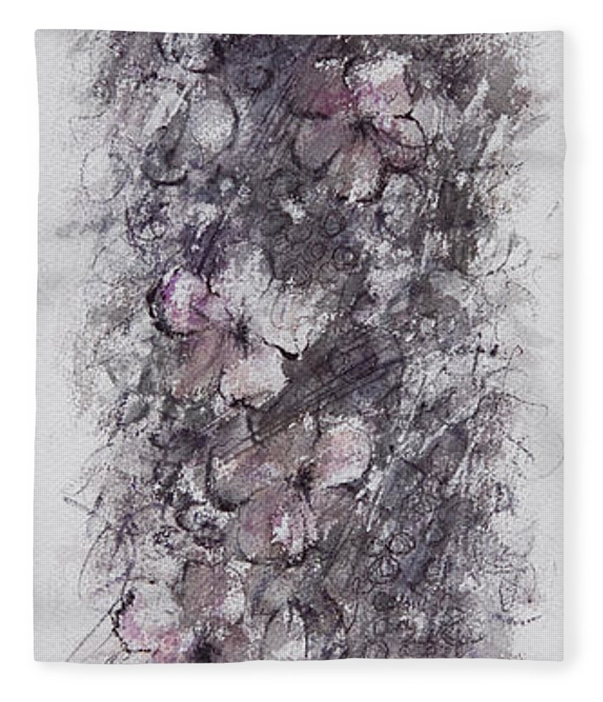 Floral Fleece Blanket featuring the painting floral cascade II by William Russell Nowicki