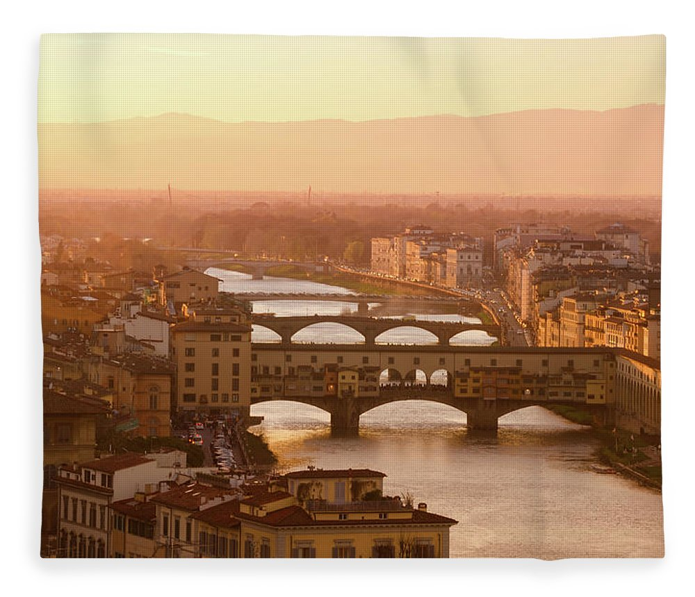 Campanile Fleece Blanket featuring the photograph Florence City During Golden Sunset by Dragos Cosmin Photos