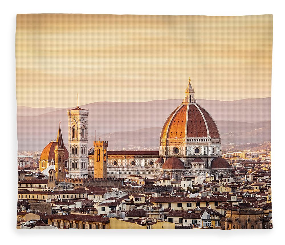 Campanile Fleece Blanket featuring the photograph Florences Cathedral And Skyline At by Filippobacci
