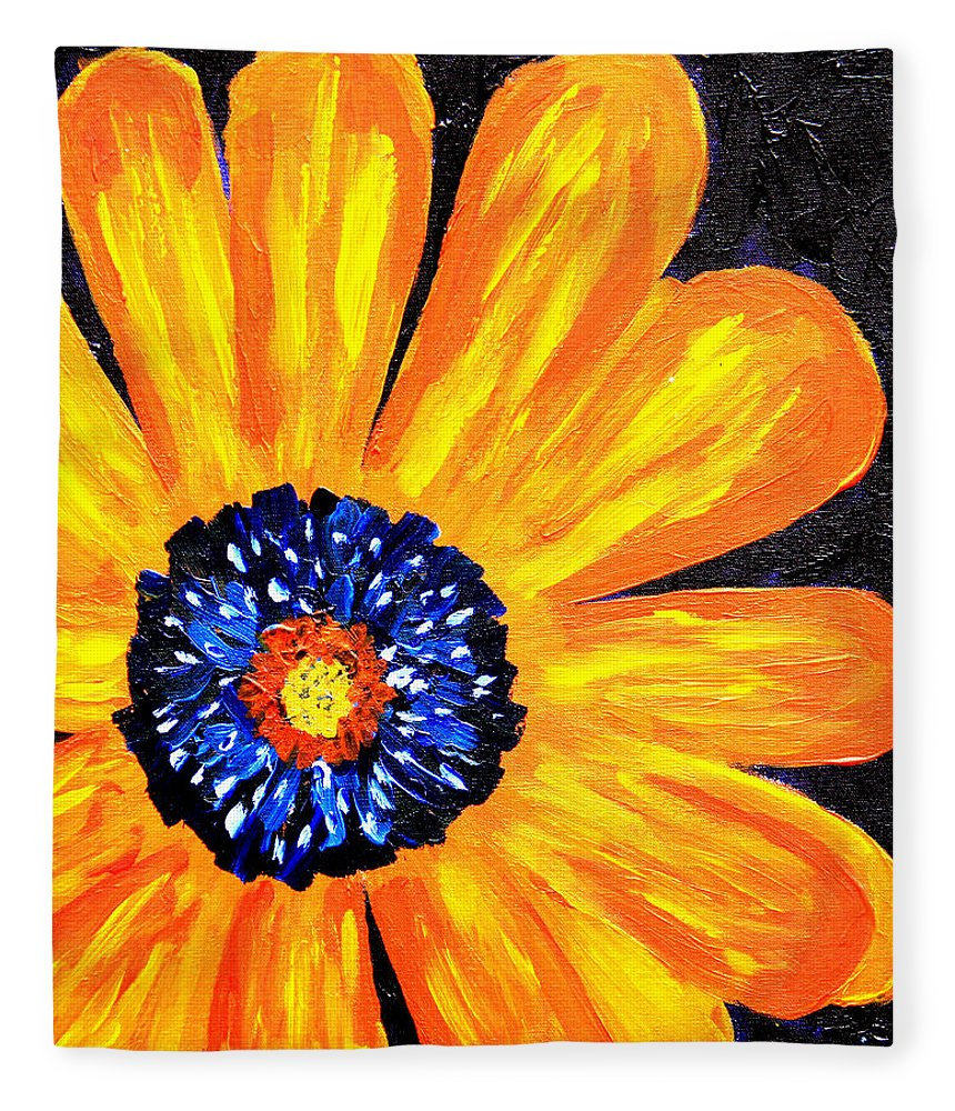 Yellow Fleece Blanket featuring the painting Flower Power 2 by Paul Anderson