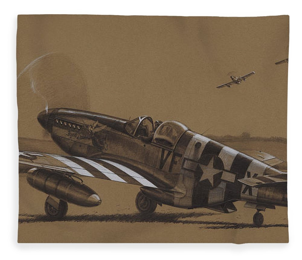 P-51 Mustang Fleece Blanket featuring the drawing Flying Dutchman by Wade Meyers