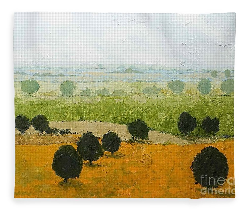 Landscape Fleece Blanket featuring the painting Fog Lifting Fast by Allan P Friedlander